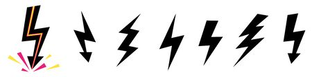 Vector set icons black Lightning bolt. collection of Thunder Ico