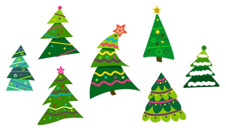 Set Different abstract green Christmas trees with tinsel and without. Ilustração