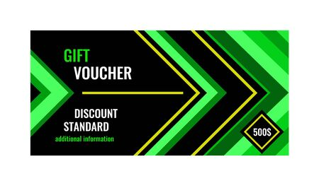 Horizontal gift voucher green lines on black background. Bright abstract design with arrows