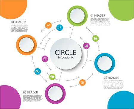 Abstract round infographics 4 step. Color circle diagram