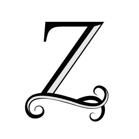 Black letter Z. Capital Letter for Monograms. Beautiful letter. Design modern element. Ilustração