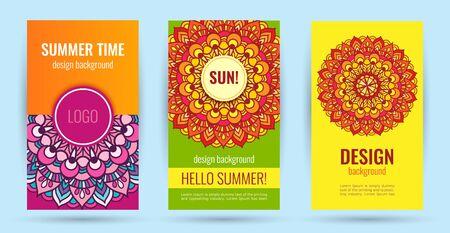 Hello summer. Elegant poster summer time with bright sun. Ilustração