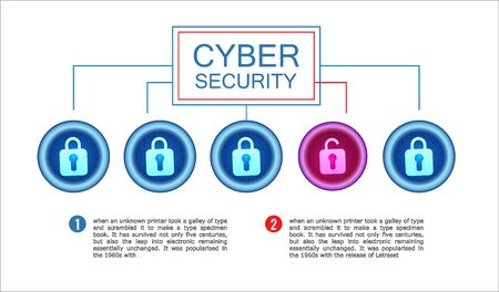 Cyber security horizontal banner. Antivirus network, hacking attempt by a hacker. Ilustracja