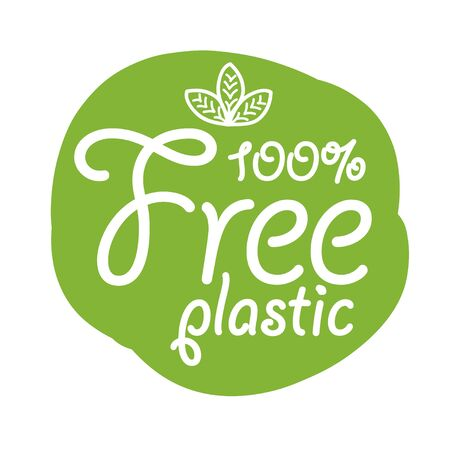 stickers with text - Plastic free. product sign for labels.
