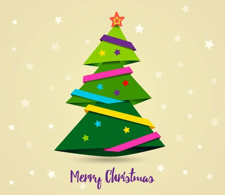 Gold card Merry Christmas. Paper ribbon on Christmas tree with yellow star