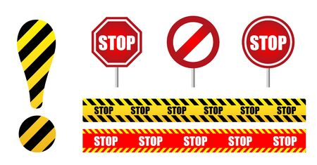 set sign Stop. Circle road sign. exclamation mark yellow and black stripes. Design for banner, button, poster or signboard. isolated on white background.
