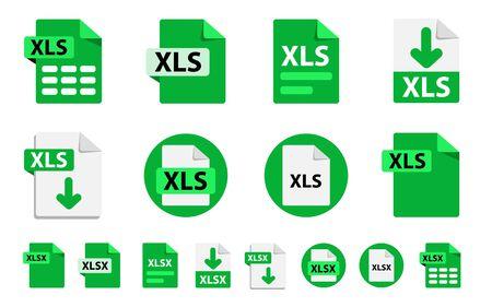 Collection d'icônes vectorielles XLSx, XLS. Icônes d'extensions de format de fichier. 8 options de conception différentes. Boutons de cercle. style design plat