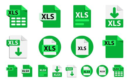 Collection of vector icons XLSx, XLS. File format extensions icons. 8 different design options. Circle buttons. flat design style