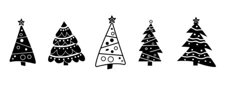 Black and white. Collection Christmas tree decorated isolated.