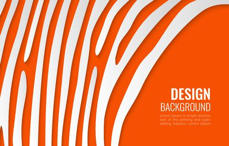 white paper lines on bright orange backdrop. simple background for cover design, flyer with space for text.