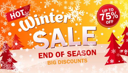 Set bright horizontal Sale banner on yellow background with snowflakes.