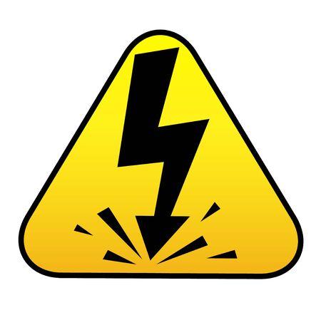 High Voltage Sign. Black arrow in yellow triangle Ilustração