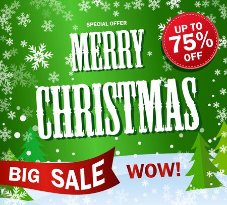 Green Banner Big sale. Text Merry Cristmas and Happy New Year.