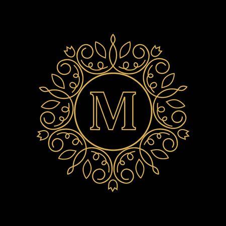 Round emblem with the gold letter M on black background. Elegant floral monogram template Design. logo for restaurant, hotel, jewelry. invitations on Wedding. Ilustração