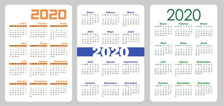 Set Vertical pocket calendar, 2020 year on Spanish. Stock Illustratie