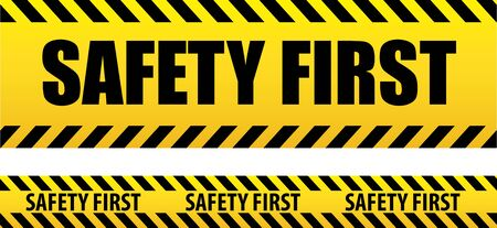 Banner safety first. Seamless tape, danger. Yellow police line. Ilustração
