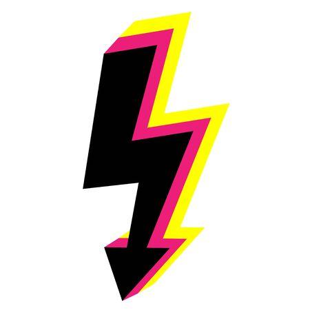 Vector 3d icons Lightning bolt. Thunder sign with lightning.