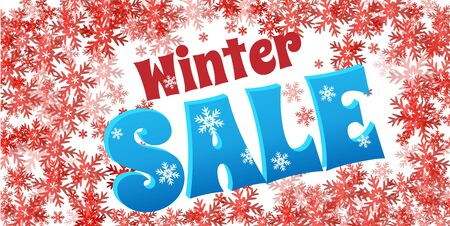 Bright horizontal Sale flyer on red background with snowflakes. Text - Winter sale. Snow vector illustration. Ilustração