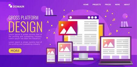 Bright illustration for design Landing page. concept cross platform design. Vector icons electronic devices. smartphone, tablet, laptop and desktop computer on ultraviolet background.