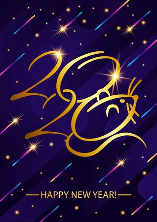 Greeting card. Golden text - 2020 happy new year.