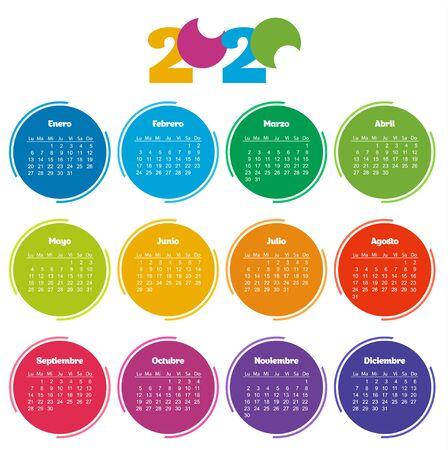 Calendrier de poche, année 2020 en espagnol. Cercle arc-en-ciel sur fond blanc. La semaine commence à partir du lundi. Calendrier de modèle vectoriel pour les entreprises.