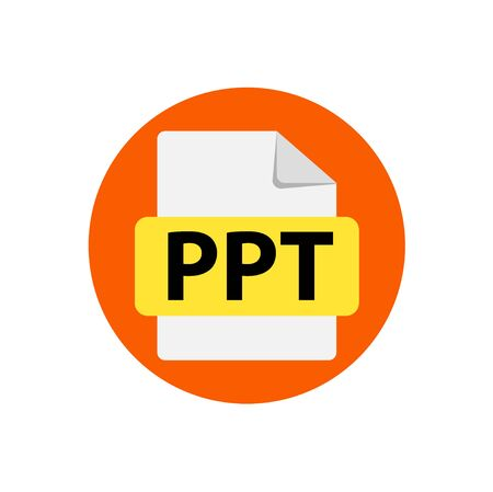 Vector orange  icon PPT. File format extensions icon. flat design style. Circle buttons. Ilustração