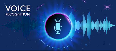 Musical banner with glowing equalizer on dark background. Voice recognition, icon microphone in center of the circle. vector Illustration. Standard-Bild - 133237306