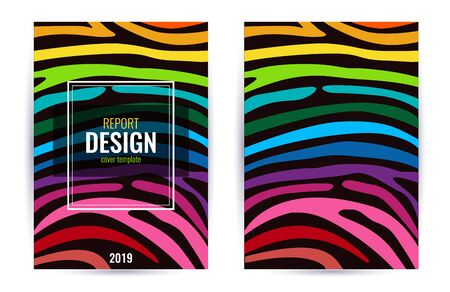 Set Design poster in color rainbow. Stripes on black background. Vertical Abstract graphic background.