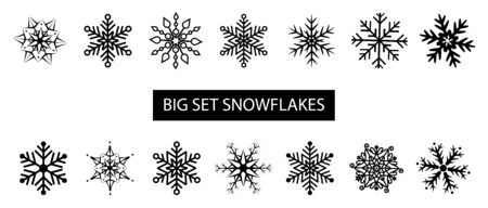 Big set different forms snowflakes. Vector black snowflakes isolated on white background. For your design projects. Ilustração