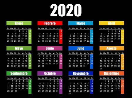 Horizontal color pocket calendar on 2020 year. , spanish. Ilustração