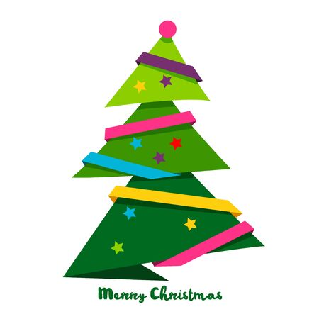 Vector christmas tree style paper art. Bright Design elements for holiday cards.