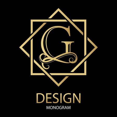 Vector golden letter G monogram on black background. Design modern logotype for Business. For a beauty salon or law firm.