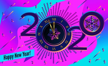 Abstract banner 2020 happy new year. Clock on abstract