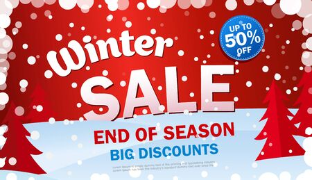 Set bright horizontal Sale banner on red background with snowflakes.