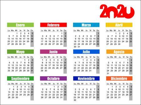 Horizontal color pocket calendar on 2020 year, spanish.