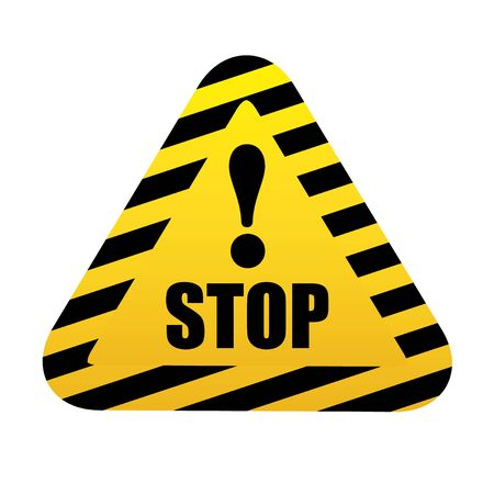 Stop. triangular road sign with exclamation mark on yellow background. Ilustração
