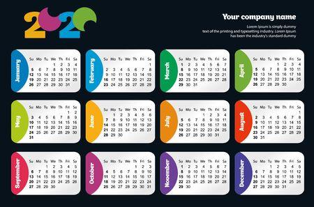 Bright modern Horizontal calendar template for 2020 years. Week starts from Sunday. Ilustração