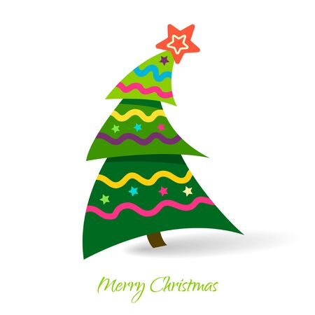 Simple vector christmas tree, Design elements for holiday cards.