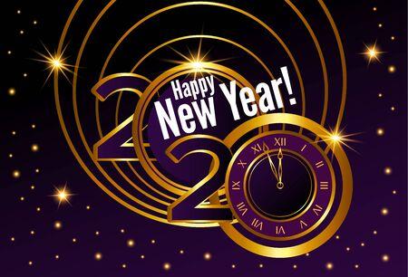Greeting card. Golden text, 2020 happy new year Ilustração