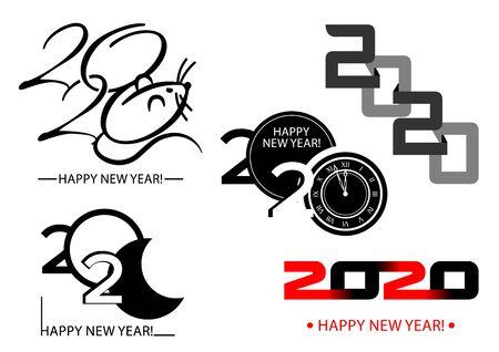 Set of 2020 happy new year symbols. Vector illustration