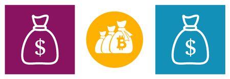 bag of money. Set of modern icons in different colors. Ilustração