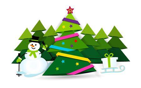 Banner Merry Christmas. Paper ribbon on Christmas tree with star Ilustração