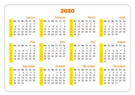 Horizontal pocket calendar on 2020 year. Vector template