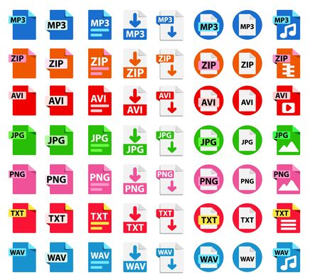 Big Collection of vector icons. File format extensions icons. 8 different design options. MP3, ZIP, AVI, PNG, TXT, JPG WAV