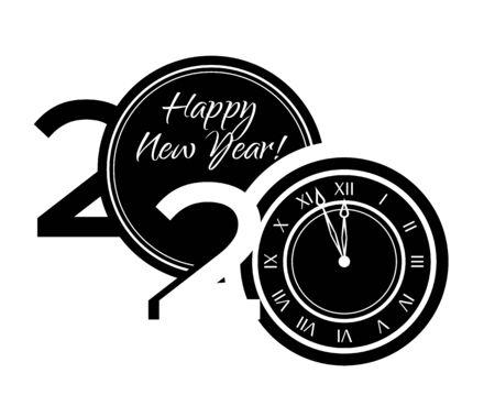 Black and white symbols 2020 happy new year. Ilustração