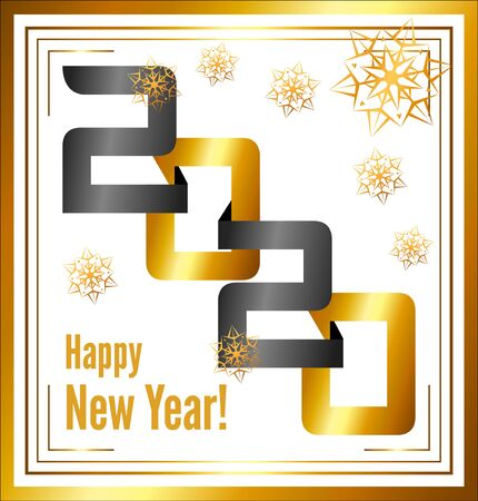 Abstract golden banner, 2020 happy new year. 2020 isolated on white Ilustração