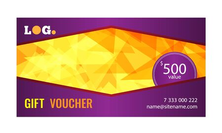 Gift voucher bright design with gold background of chaotically moving triangles. Ilustração