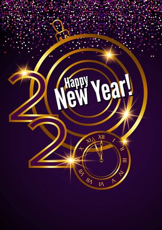 Greeting card. Golden text, 2020 happy new year. Flying golden particles on black background.