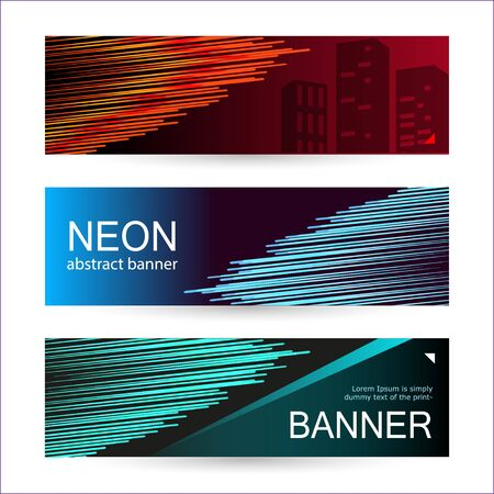 Set of horizontal dark banners with glowing lines of red, blue and green. Abstract vector background.