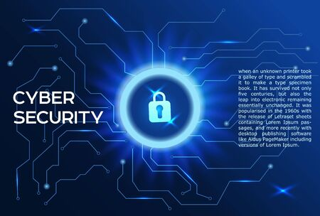 Cyber security concept Closed padlock icon on digital data background.